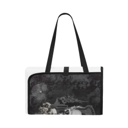 Skull with crow in black and white Portable & Foldable Mat 60''x78''