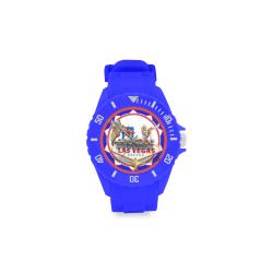 LasVegasIcons Poker Chip - Vegas Sign Blue Sport Rubber Strap Watch(Model 301)