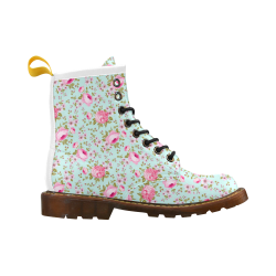 Peony Pattern High Grade PU Leather Martin Boots For Women Model 402H