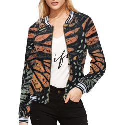 Monarch Collage All Over Print Bomber Jacket for Women (Model H21)