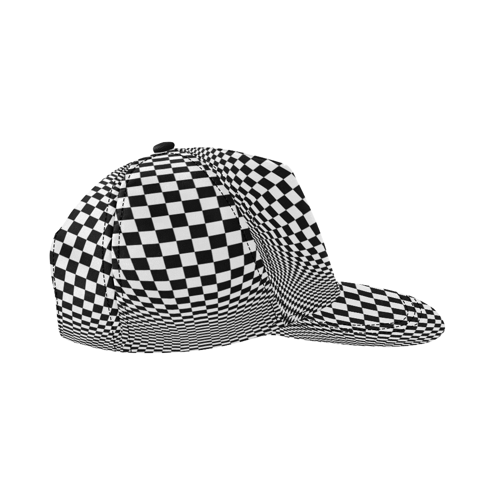 Optical Illusion Checkers All Over Print Snapback Hat D
