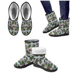 grey floral Custom High Top Unisex Snow Boots (Model 047)