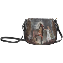 Fantasy horse with fairy Classic Saddle Bag/Small (Model 1648)