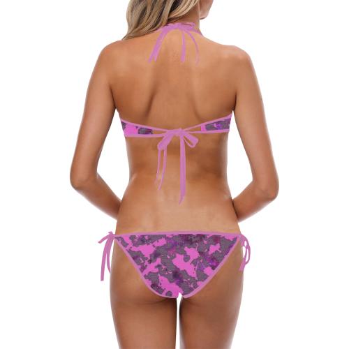 CAMOUFLAGE PINK Custom Halter & Side Tie Bikini Swimsuit (Model S06)