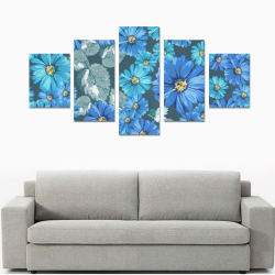 Gorgeous Blue Floral Canvas Print Sets B (No Frame)