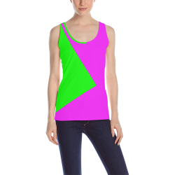 Bright Neon Green and Pink All Over Print Tank Top for Women (Model T43)