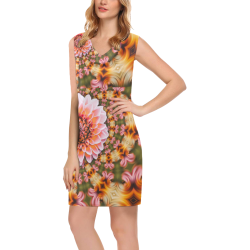 Floral Colours Phoebe Sleeveless V-Neck Dress (Model D09)