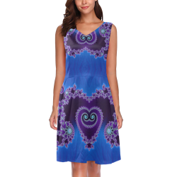 Blue Hearts and Lace Fractal Abstract 2 Chryseis Sleeveless Pleated Dress(Model D07)