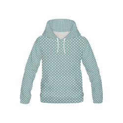 Silver blue polka dots All Over Print Hoodie for Kid (USA Size) (Model H13)