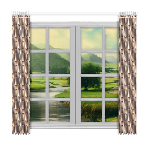 """Brown glossy toned buttons Window Curtain 50""""x96""""(Two Piece)"""