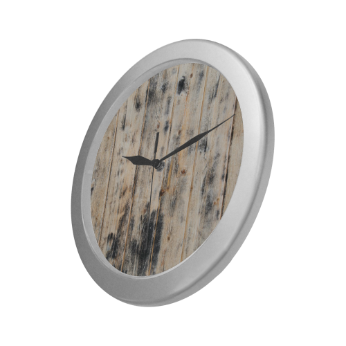 Silver Frame Wall Clock Classic Graphic Weathered Wood Style Modern Art Wall Clock Silver Color Wall Clock