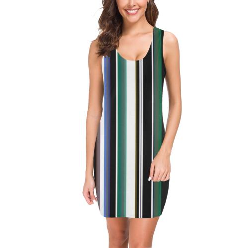 Bold stripes veritical Medea Vest Dress (Model D06)