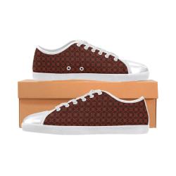 Brown Geometric Pattern Women's Canvas Shoes (Model 016)