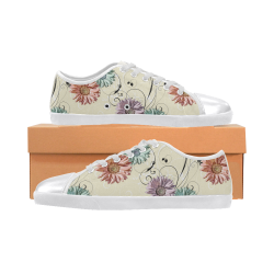 Flowers on Yellow Canvas Shoes for Women/Large Size (Model 016)