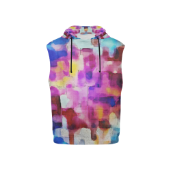 Blue pink watercolors All Over Print Sleeveless Hoodie for Kid (Model H15)