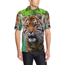 Tiger and Waterfall Men's All Over Print Polo Shirt (Model T55)