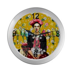 Frida Kahlo Budgies (Yellow) Silver Color Wall Clock