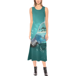 Awesome light bulb with island Phaedra Sleeveless Open Fork Long Dress (Model D08)