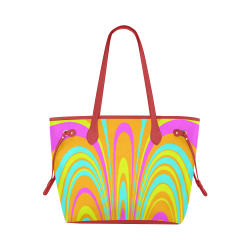 Groovy Retro Tangerine Turquoise Yellow Pink Clover Canvas Tote Bag (Model 1661)