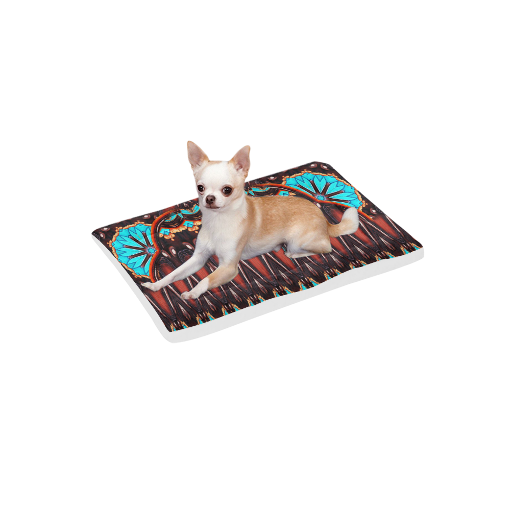 "K172 Wood and Turquoise Abstract Pet Bed 24""x13"""