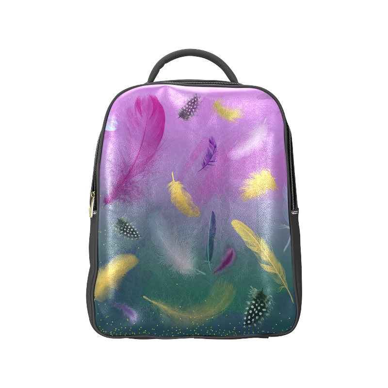 Dancing Feathers - Pink and Green Popular Backpack (Model 1622)