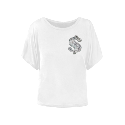 Hundred Dollar Bills - Money Sign White Women's Batwing-Sleeved Blouse T shirt (Model T44)