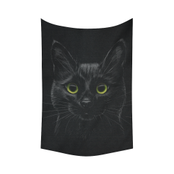 """Black Cat Cotton Linen Wall Tapestry 60""""x 90"""""""