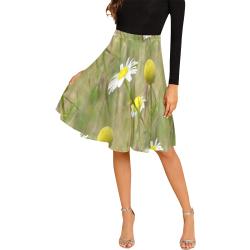Daisy pattern skirt Melete Pleated Midi Skirt (Model D15)