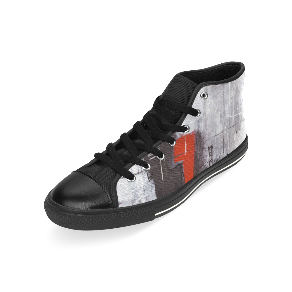 Black & red High Top Canvas Shoes for Kid (Model 017)
