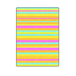 "Neon Stripes  Tangerine Turquoise Yellow Pink Blanket 58""x80"""