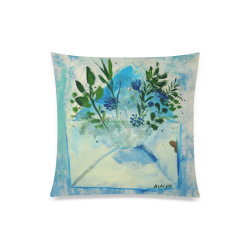 "blue flowers floral painting by agnes laczo Custom Zippered Pillow Case 20""x20""(Twin Sides)"
