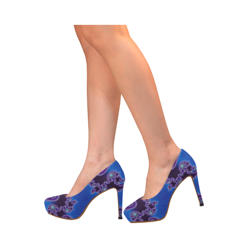 Blue Hearts and Lace Fractal Abstract 2 Women's High Heels (Model 044)