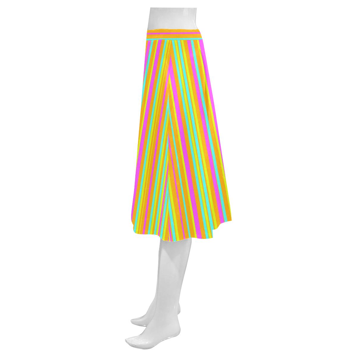 Neon Stripes  Tangerine Turquoise Yellow Pink Mnemosyne Women's Crepe Skirt (Model D16)