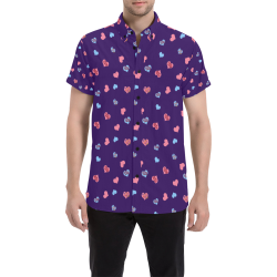 Pink-Blue Hearts-Wild Thing-Hot Stuff on Purple Men's All Over Print Short Sleeve Shirt (Model T53)