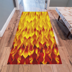 Hot Fire and Flames Halloween Decor Area Rug 7'x3'3''