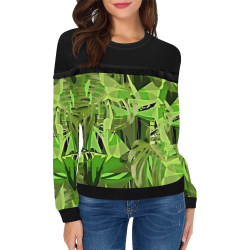 Tropical Jungle Leaves Camouflage Women's Fringe Detail Sweatshirt (Model H28)