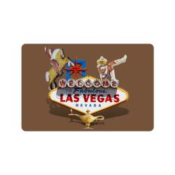 """Las Vegas Welcome Sign on Brown Doormat 24""""x16"""""""