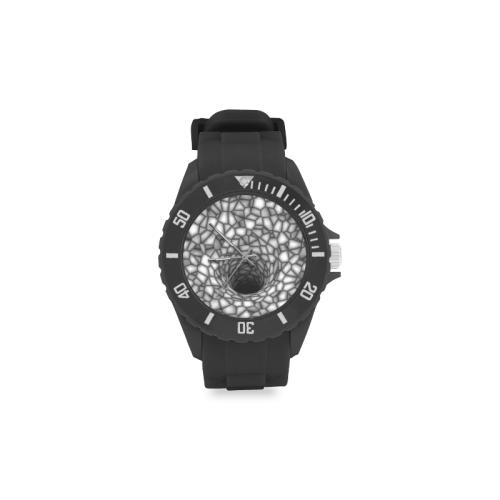Optical Illusion Spider Web Jasper Black Hole (Black/White) Sport Rubber Strap Watch(Model 301)