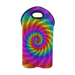 Psychedelic Rainbow Spiral Wine Bag 2-Bottle Neoprene Wine Bag