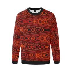 Brown Abstract Pattern Men's Oversized Fleece Crew Sweatshirt/Large Size(Model H18)