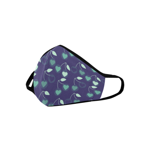heart cherries blue Mouth Mask