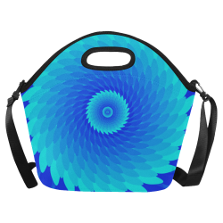 Royal blue spiral flower Neoprene Lunch Bag/Large (Model 1669)