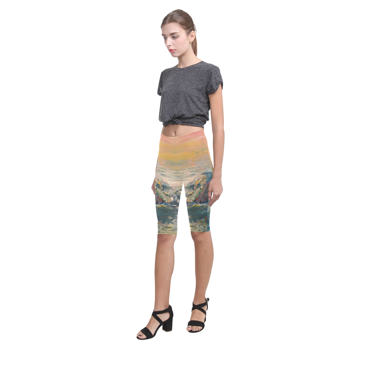 Mountains painting Hestia Cropped Leggings (Model L03)
