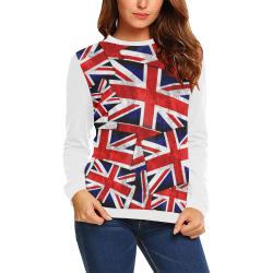 Union Jack British UK Flag (Vest Style) White All Over Print Crewneck Sweatshirt for Women (Model H18)