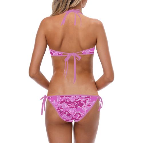 Pink Camouflage Pattern Custom Halter & Side Tie Bikini Swimsuit (Model S06)