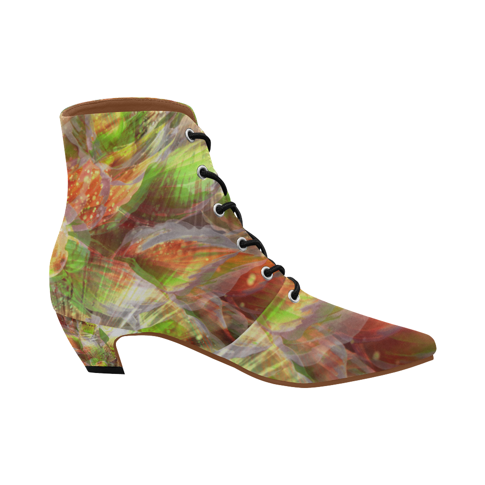 Flower Leaf Crew Women's Pointed Toe Low Heel Booties (Model 052)