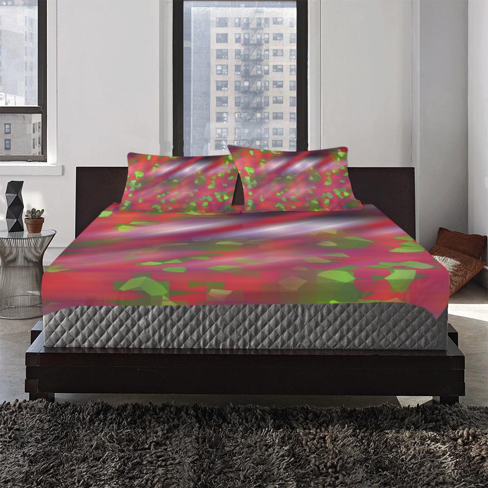 Green Pink Spot Red Line 3-Piece Bedding Set
