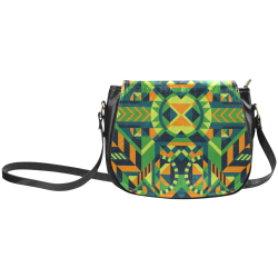 Modern Geometric Pattern Classic Saddle Bag/Small (Model 1648)