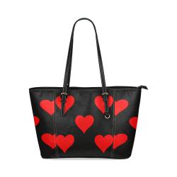 corazones Leather Tote Bag/Small (Model 1640)