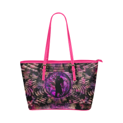 Violet Shadow Lovers Leather Tote Bag/Small (Model 1651)